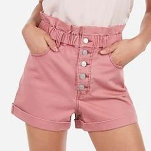 Express Blush Pink High Waist Button Shorts S NWOT